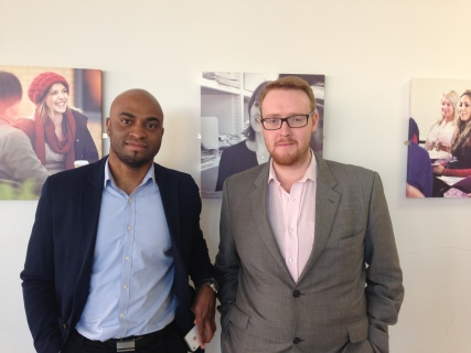 Isi Abebe and Mark O'Brien from Made in Leeds TV arrive at Leeds Trinity Journalism Week