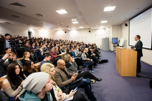 Sky Sports presenter Jeff Stelling speaking at Leeds Trinity's Journalism Week