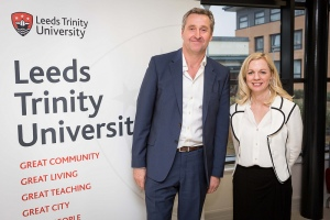 ITV News anchor Mark Austin with television tutor Katherine Blair