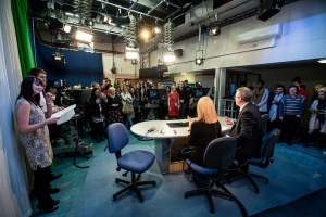 Calendar News presenters Christine Talbot and Duncan Wood host a workshop in Trinity's TV studio