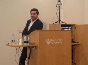 Alex Brooker at Leeds Trinity's Journalism Week.
