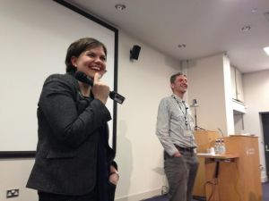 Richard Edwards from BBC Leeds and Katie Hall from BBC News Online speak to students at Journalism Week.