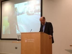 Tim Singleton, director of newsgathering at ITN speaking at Leeds Trinity