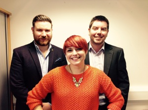 Kate Russell (front, Dan Lynch, (right) and Josh Stead (left)