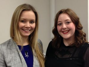 Recent Trinity trainees Lauren Wafer-Kiddle and Felicity McNamara, reporters for the Halifax Courier Group.