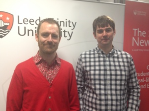 BBC Sport journalists Paul Fletcher and Tom Rostance before their talk at Leeds Trinity's Journalism Week.
